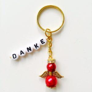 Schlüsselanhänger Schutzengel gold mit DANKE rot