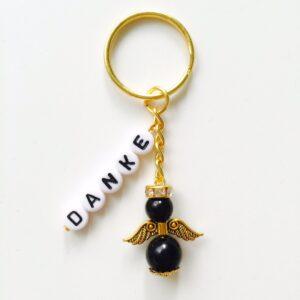 Schlüsselanhänger Schutzengel gold mit DANKE schwarz