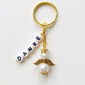 Schlüsselanhänger Schutzengel gold mit DANKE weiß