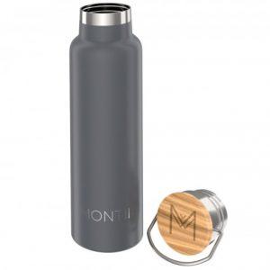 MontiiCo, 600 ml – Edelstahl Trinkflasche mit Bambusdeckel Grey