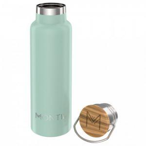 MontiiCo, 600 ml – Edelstahl Trinkflasche mit Bambusdeckel Eucalyptus