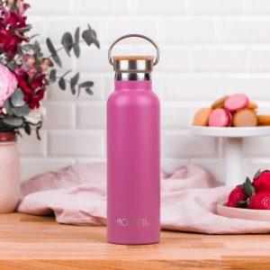 MontiiCo, 600 ml – Edelstahl Trinkflasche mit Bambusdeckel pink