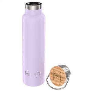 MontiiCo, 600 ml – Edelstahl Trinkflasche mit Bambusdeckel lavender