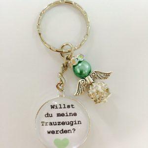 """Cabochon Schlüsselanhänger """"Willst du meine Trauzeugin werden"""" grün"""