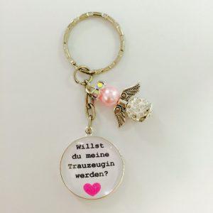 """Cabochon Schlüsselanhänger """"Willst du meine Trauzeugin werden"""" rosa"""