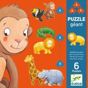 Djeco 7114 Riesen Puzzle Äffchen und Freunde