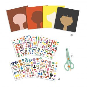 Djeco 9045 Basteln mit Sticker und Schere (Friseur)
