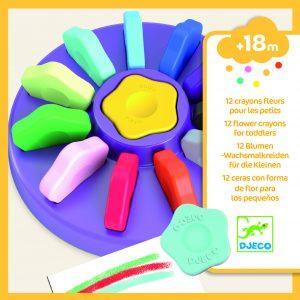 Djeco 9005 12 Blumen-Wachsmalkreiden für die Kleinen, auswaschbar