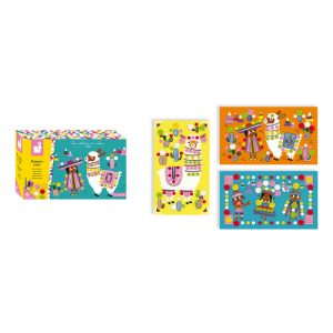 Janod Kreativ-Set Pompon Karten LAMAS 3 Stück J07802