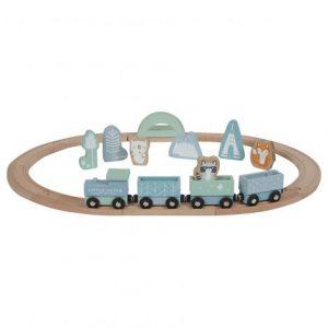 Little Dutch Eisenbahn mit Schienen Adventure blau