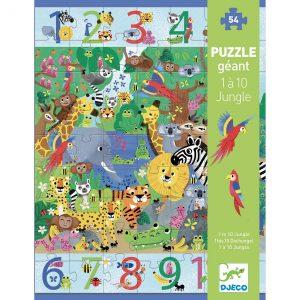 Djeco 7148 Riesenpuzzle 1 bis 10 Dschungel 54 Teile