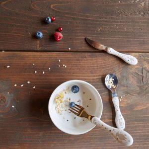 LÄSSIG Kinderbesteck (3 Stk) – Tiny Farmer Schaf & Gans, Weiß