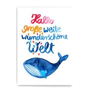 Frau Ottilie Postkarte *Hallo Welt*