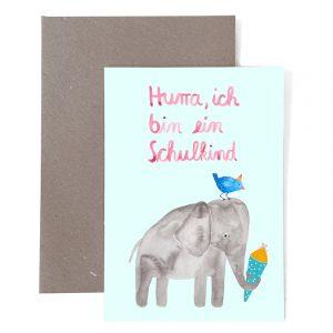 Frau Ottilie Grußkarte Hurra ich bin ein Schulkind Elefant