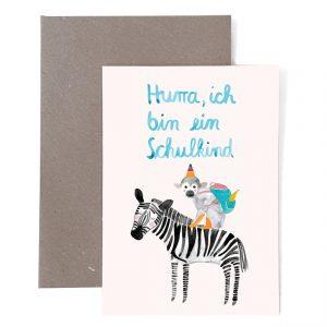 Frau Ottilie Grußkarte Hurra ich bin ein Schulkind (Zebra)