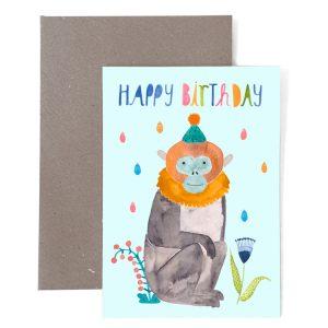 Frau Ottilie Grußkarte Happy Birthday Affe