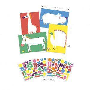 Djeco 9046 Stickerset Die großen Tiere