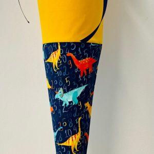 Handgenähte Schultüte Dinosaurier gelb