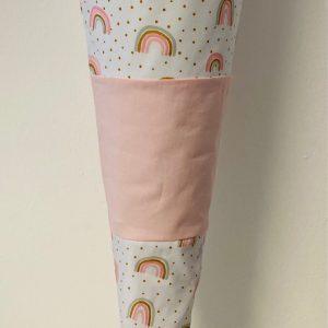 Handgenähte Schultüte Regenbogen rosa