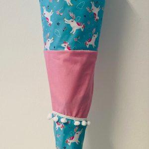 Handgenähte Schultüte Einhorn rosa
