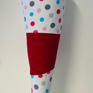 Handgenähte Schultüte Punkte pink
