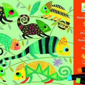 Djeco 8618 Kreativset Pastellkreiden – Bunter Dschungel – Workshop