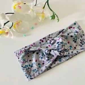 Knoten-Stirnband grau mit Blumen Größe: 1,5 – 2 Jahre