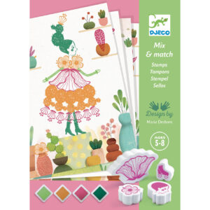 Djeco 8741 Bastelset Stempel Flower girls – Mix and Match